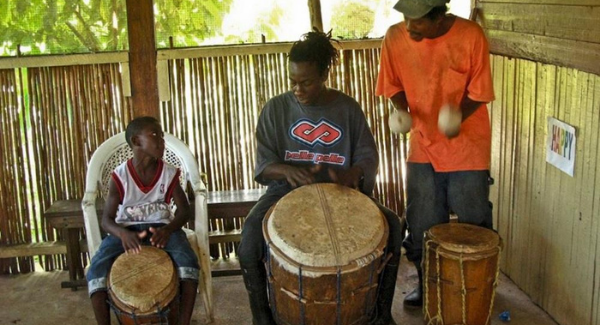 creole cooking and drumming